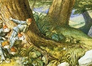 A2 Wood Elves Hiding And Watching A Lady Richard Doyle Picture print on Canvas