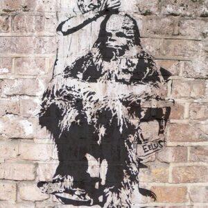 Banksy Graffiti Street Art A2 Canvas Giclee Framed Print Chewbacca Barbers