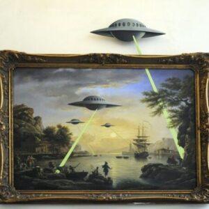 Banksy Graffiti Street Art A2 Canvas Giclee Framed Print UFO Painting Frame 2