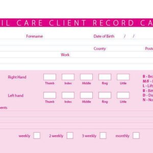 New Nail Care Treatment Consultation Client Record Cards