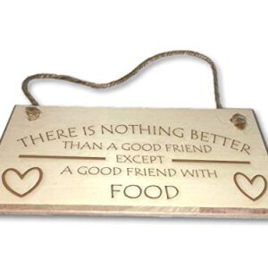 A Good Friend With Food – Engraved wooden wall plaque/sign