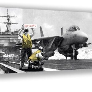 Banksy street art Aircraft Carrier Applause Framed Canvas Picture A2 Size Size 16″ X 24″