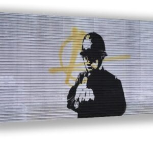 Banksy street art Policeman Middle Finger Framed Canvas Picture A2 Size Size 16″ X 24″