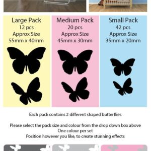 Butterfly Wall Art Stickers in 2 Different Shapes, 3 Sizes & 30 Colours (Purple, Medium Pack of 20 Pieces 45mm x 30mm)