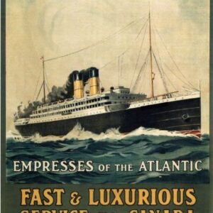 Canadian Pacific Empresses Of The Atlantic Reproduction Vintage Travel Poster VSHIP050 Art Print Canvas A4 A3 A2 A1