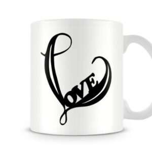 Cute Valentines Day Black Love Heart Design – Printed Mug