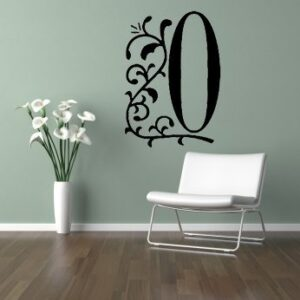 DECORATIVE WALL ART STICKER DECAL MURAL NUMBER 0 PERFECT ON WALL DOOR WINDOW CAR (Black, Small 25cm high)