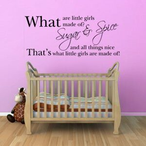 Decorative Wall Art Sticker Text Quote – What Are Little Girls Made Of? Sugar & Spice And All Things Nice 3 Sizes 30 Colours (Black, Large)