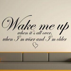 Avicci – Wake Me Up Lyrics Wall Art Sticker