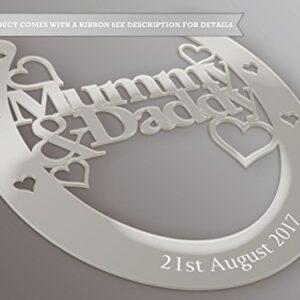 Fingerprints Personalised Mummy And Daddy Good Luck Horseshoe Bridal And Wedding Gift