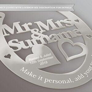 Fingerprints Personalised Wedding Mr & Mrs Horseshoe Gift