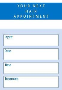 Hair Appointment Client Cards 250 per Pack