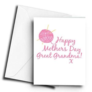 Happy Mothers Day Great Grandma! x Knitting – A5 Greetings Card