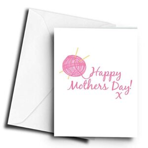 Happy Mothers Day! x Knitting – A5 Greetings Card