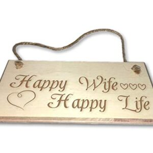 Happy Wife, Happy Life – Engraved wooden wall plaque/sign