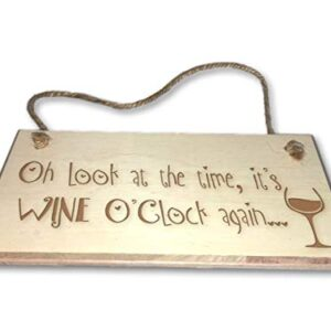 It's Wine O'Clock Again – Engraved wooden wall plaque/sign