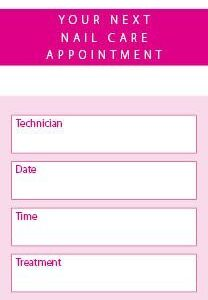 Nail Care Appointment Cards 250 per Pack