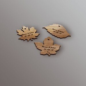 Personalised Wooden Leaf Table Decorations/Wedding Favours – Pack Of 50