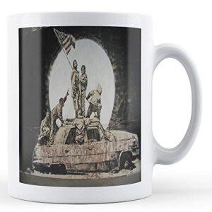 Banksy American Flag On Car – Printed Mug