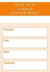 Sunbed Appointment Client Cards 250 per Pack