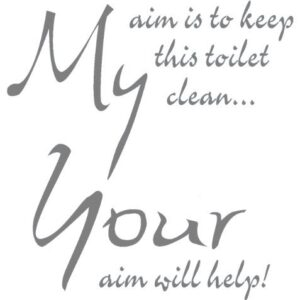 TOILET SEAT STICKER DECAL QUOTE MY AIM IS TO KEEP THIS TOILET CLEAN IN 30 COLOURS 21cm x 22cm (Medium Grey)