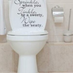 Toilet Seat Stickers Decal Quote If You Sprinkle – Wipe Seat In 30 colours (Black)