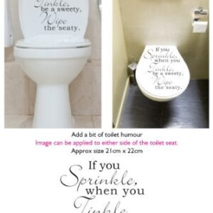 Toilet Seat Stickers Decal Quote If You Sprinkle – Wipe Seat In 30 colours: White
