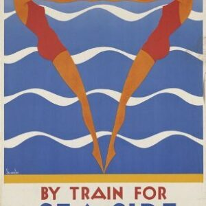 Vintage By Train For Seaside Holidays VTARP078 Matt Satin Canvas A4 A3 A2 A1
