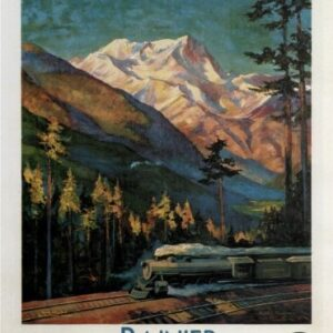 Vintage Rainier National Park Train VTARP073 Matt Satin Canvas A4 A3 A2 A1