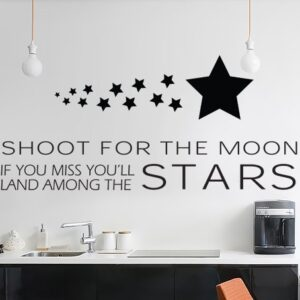 WALL ART STICKER DECAL MURAL TEXT QUOTE SHOOT FOR THE MOON LAND STARS IN 3 SIZES & 30 COLOURS (Black, Small 55cm x 25cm)