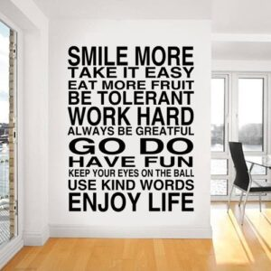 WALL ART STICKER DECAL MURAL TEXT QUOTE SMILE MORE IN 3 SIZES & 30 COLOURS (Black, Medium 35cm x 46cm)