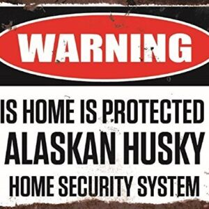 Warning This Home Is Protected By Alaskan Husky Home Security System Medium Metal Wall Plate