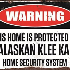 Warning This Home Is Protected By Alaskan Klee Kai Home Security System Medium Metal Wall Plate