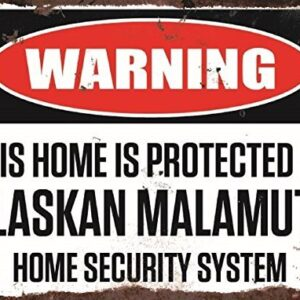 Warning This Home Is Protected By Alaskan Malamute Home Security System Medium Metal Wall Plate