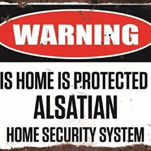 Warning This Home Is Protected By Alsatian Home Security System Medium Metal Wall Plate