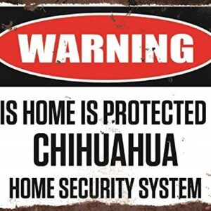 Warning This Home Is Protected By Chihuahua Home Security System Medium Metal Wall Plate