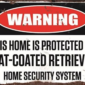 Warning This Home Is Protected By Flat-Coated Retriever Home Security System Large Metal Wall Plate