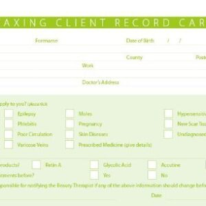 Waxing Client Treatment Cards 100 per Pack
