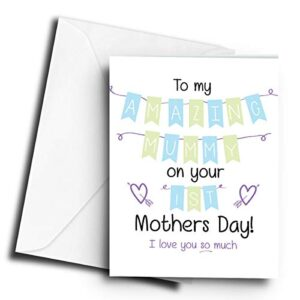 to My Amazing Mummy on Your 1st Mothers Day! (Blue) – A5 Greetings Card